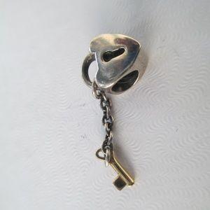 Pandora Key to My Heart Charm w/ 14K Key